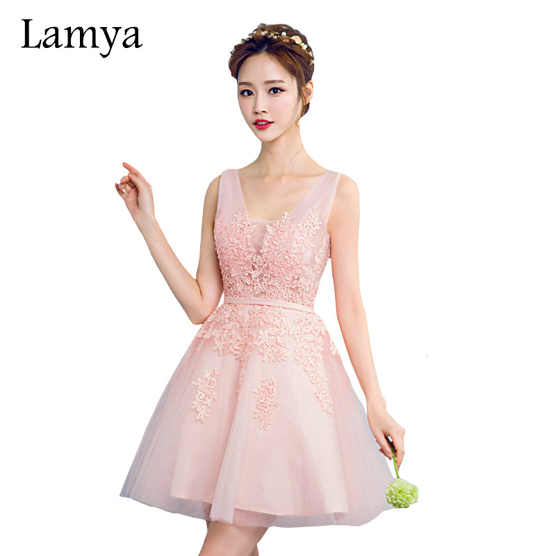 Lamya Pink V Neck Plus Size A line Lace Prom Dresses 2017 Gray Short Elegant Evening Party Gown Special Occasion Dress