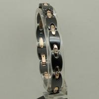 elegant rose gold plating steel link cz stone scratch proof black magnetic stone ceramic bracelet