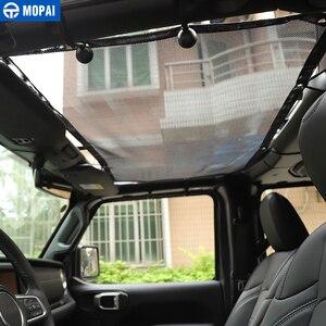 Image 4 - 지프 검투사 2018 + 를위한 MOPAI 차 정상 차양 덮개 지프 랭글러를위한 차 지붕 반대로 UV 태양 그물 부속품 JL 2018 +