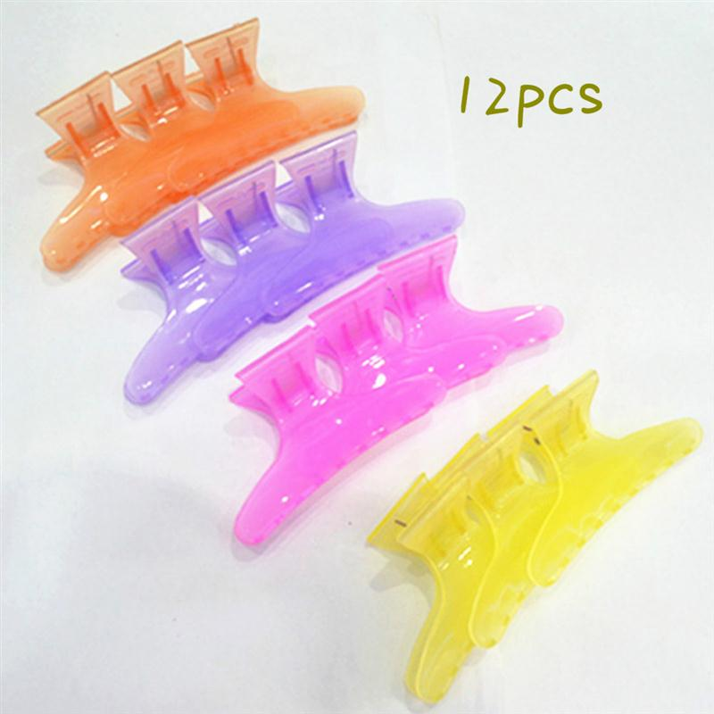 RUIMIO Beauty Hair Claw Salon Styling Tools Plastic Colorful Hair Clips Hairdressing Tool Butterfly 12Pcs Section Clip Clamps