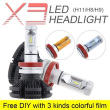 2pcs H8 H9 H11 X3 50W 6000LM 3000K 6500K 8000K LED Car Headlight Kit Fog Lamp Hi or Lo Light Bulb with 3 Kinds Colorful Film