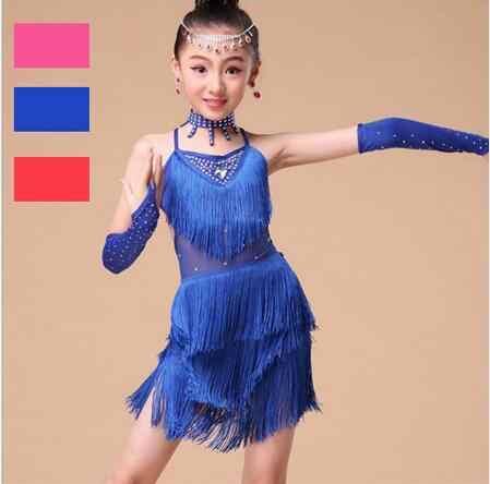 Neue 2017 Latin Dance Kinder Wettbewerb Kostüme Bachata Junior Rot Ballroom Tango Latin Kleider Mädchen Fringe Latin Salsa Kleider