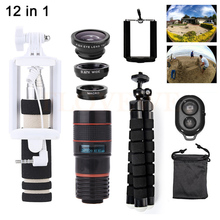 Sale Phone lentes Kit 8X Zoom Telephoto Lenses Microscope+Tirpod+Fish eye Wide Angle Macro Lens Telescope For iPhone Huawei Lenovo LG
