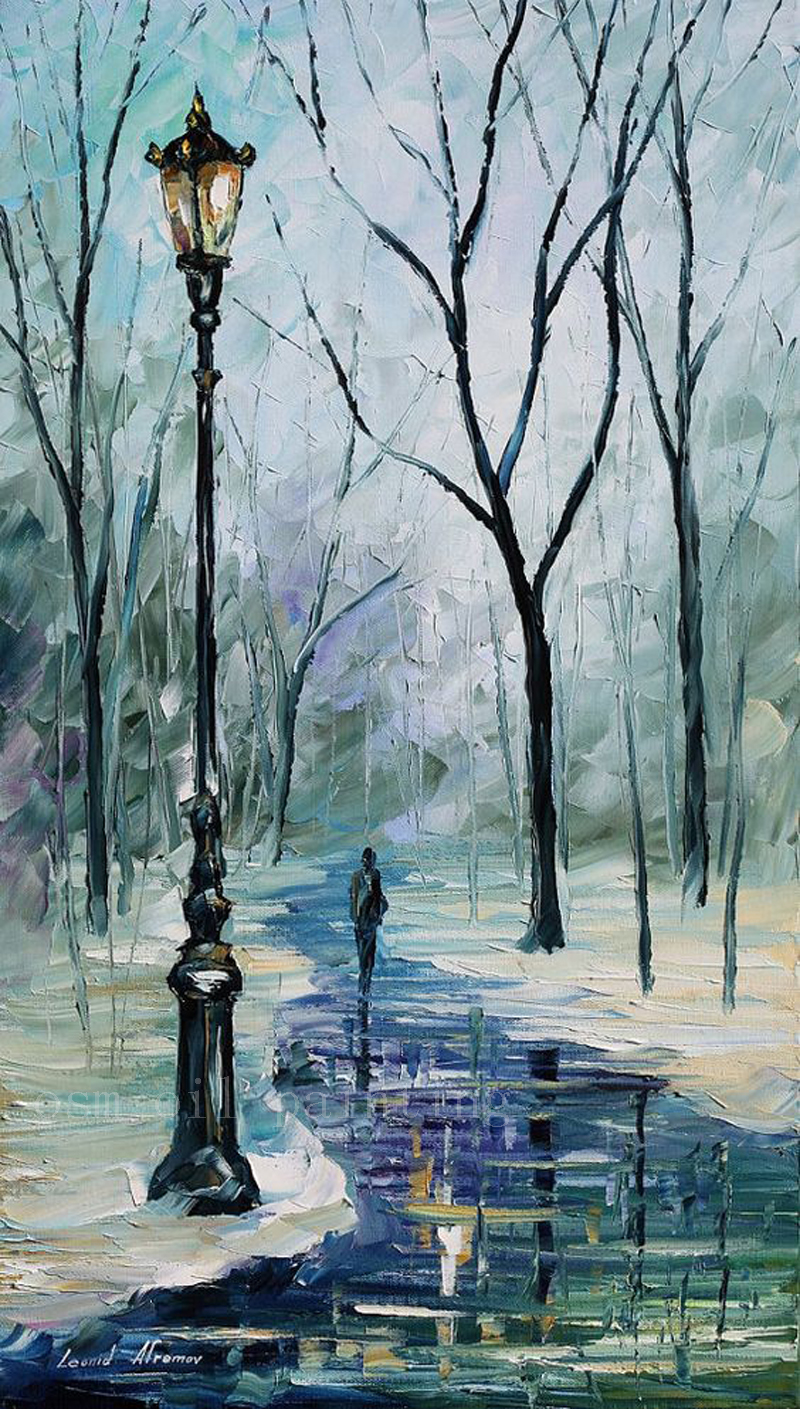 Handmade Modern Abstract Art Work Palette Knife Winter Alley Impressionism Oil Painting On Canvas Unique Christmas Gift Picture