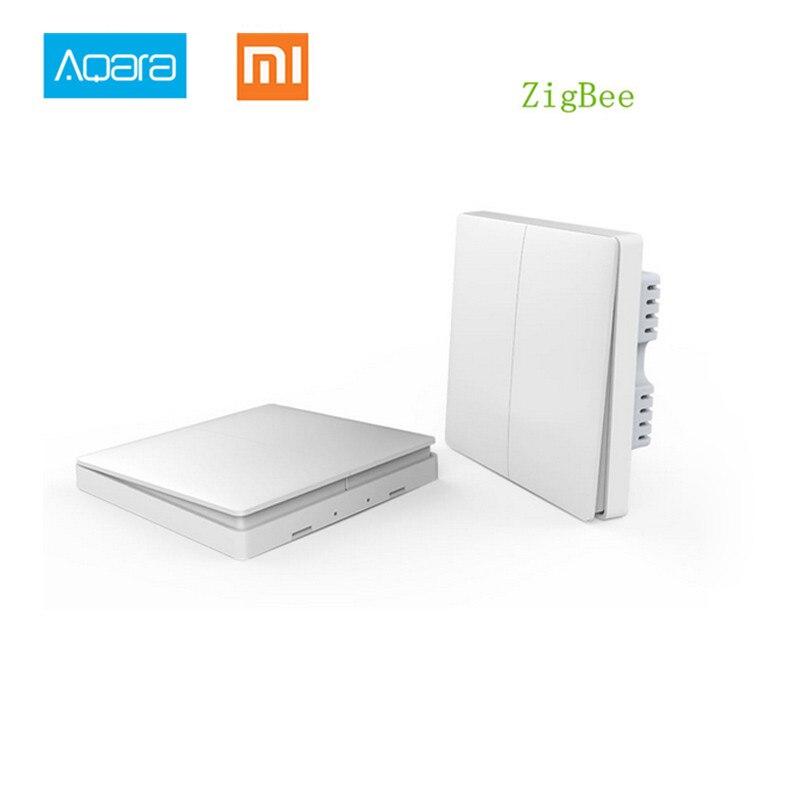 ¡En Stock! 2017 Xiaomi casa inteligente Aqara de Control de luz inteligente inalámbrica ZiGBee clave y interruptor de pared a través de teléfono inteligente aplicación de Control remoto por Xiaomi