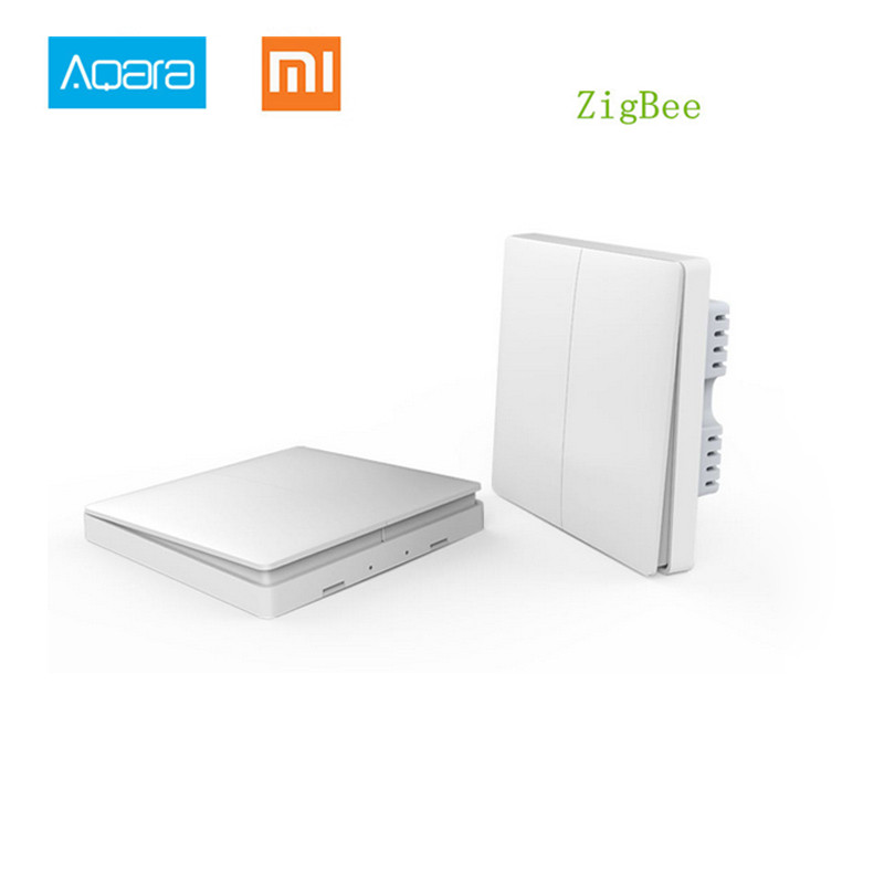 Mewn Stoc! 2017 Xiaomi Cartref Smart Aqara Smart Light Control ZiGBee Wireless Key a Switch Wall Via SROphone APP Remote By Xiaomi