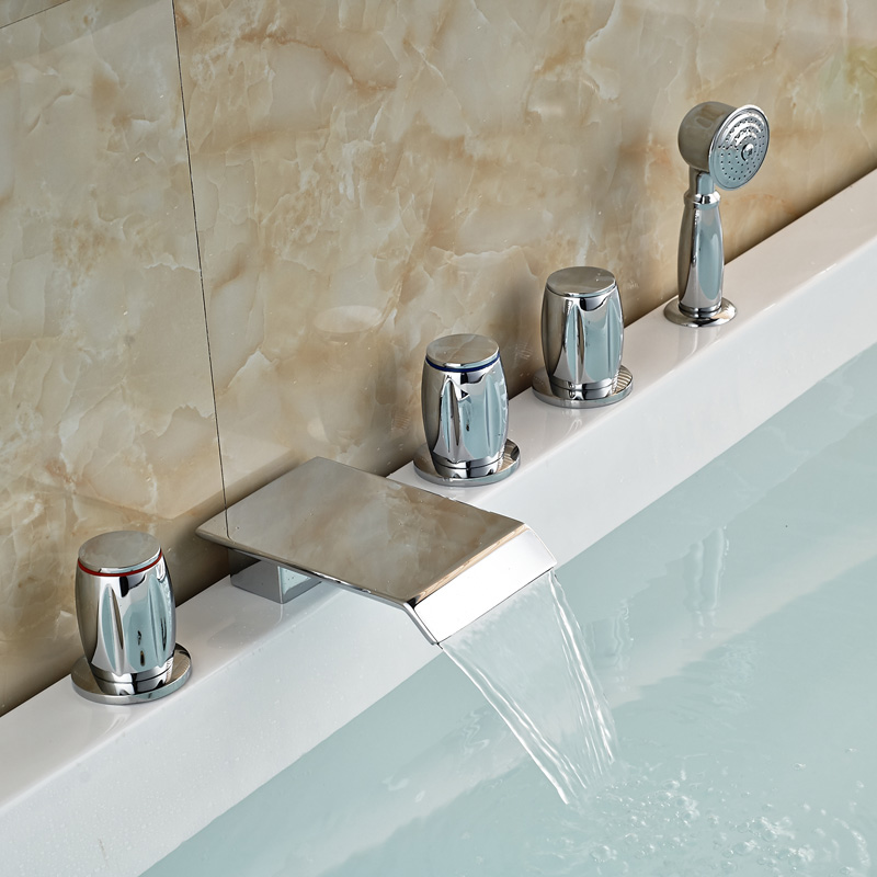 Luxury 5pcs Widespread Waterfall Roman Tub Faucet Deck Mount with Handheld Shower Chrome Finsihed