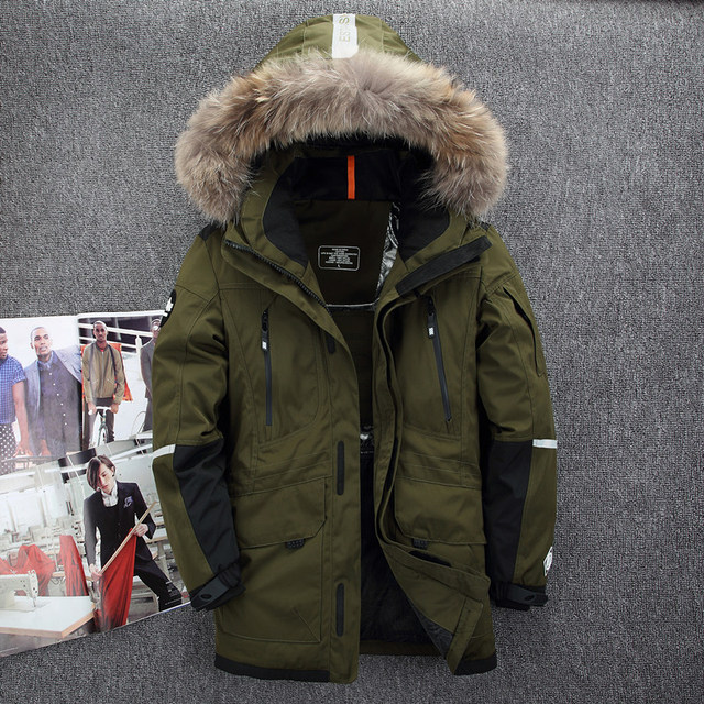 4d2badd977e Fur Hooded Duck Down Jackets Men Warm High Quality Windproof and waterproof  Down Coats Male Casual