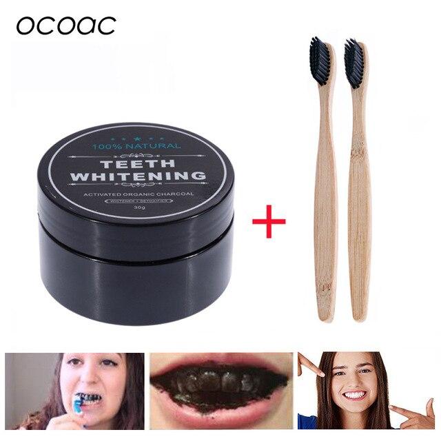 Blanqueador de dientes 30g polvo humo café té mancha quitar bambú carbón activado polvo higiene bucal cuidado Dental