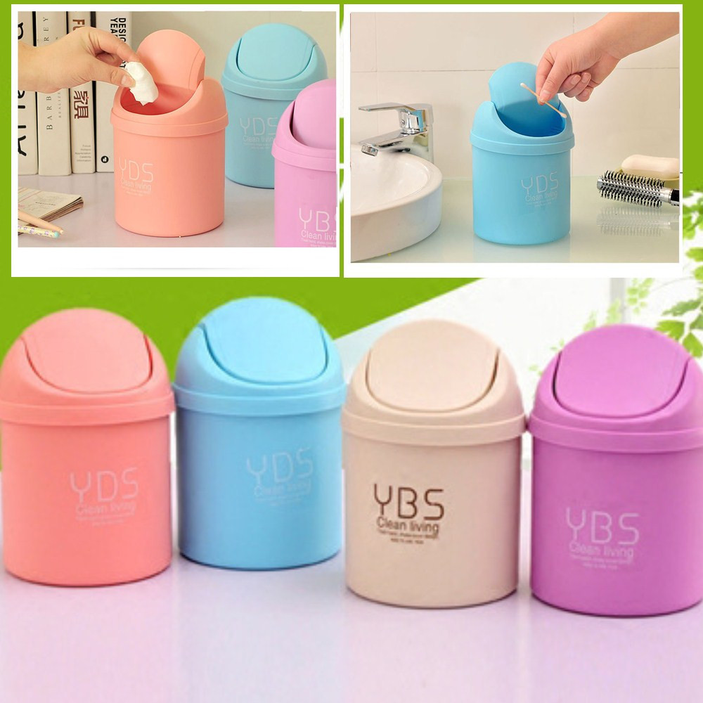 4 Colors Trumpet Desktops Mini Trash Can Rubbish Storage Bin Box Creative Covered Kitchen Living Room Home Organization F930