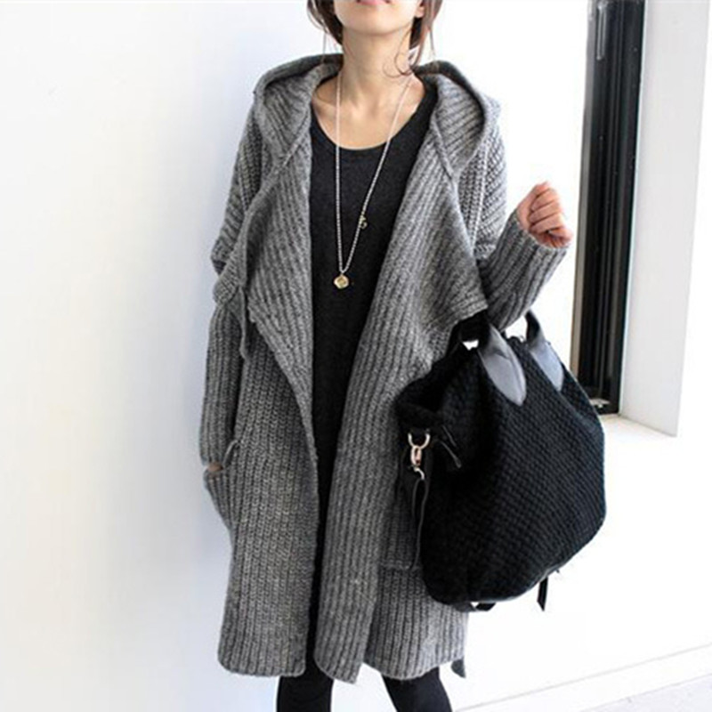 2016 New Autumn and winter thick loose sweater cardigan coat Korean version of coarse lines long
