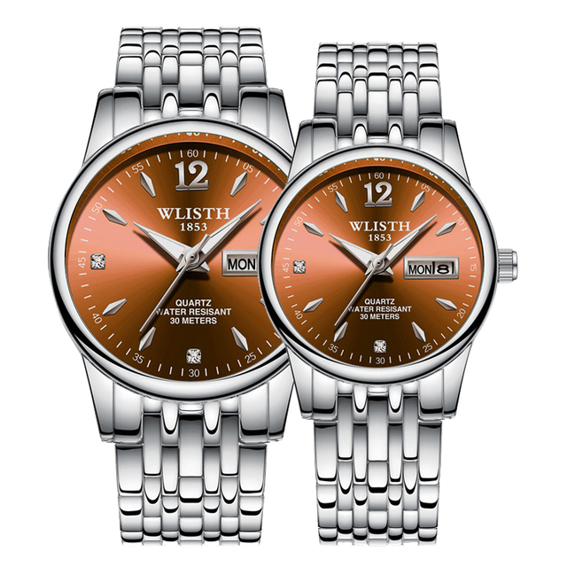 Couple Quartz Stainless Steel Strap Luminous Couples watch Set  3