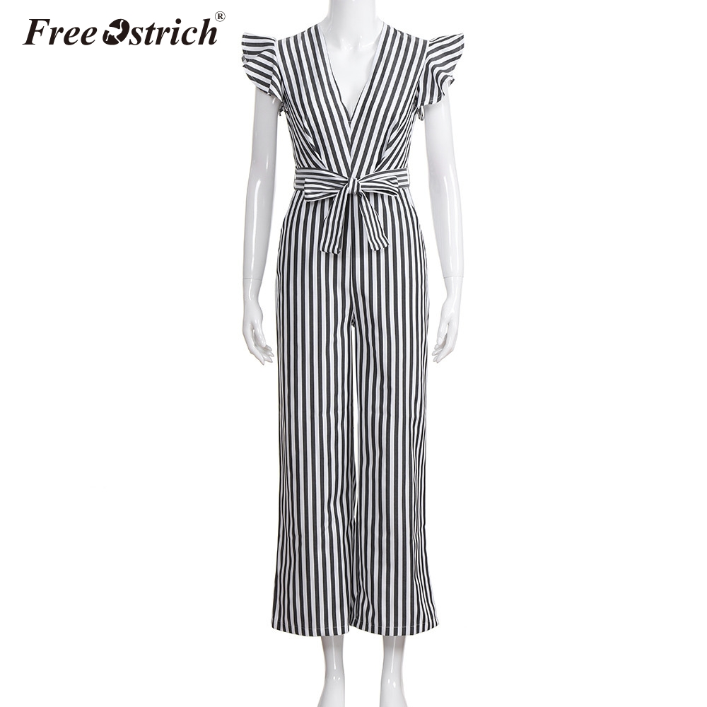 Free Ostrich Jumpsuit Women 2018 Summer Women Summer Sleeveless Striped Halter Ruffle Sexy Plus Size Jumpsuit N30 2