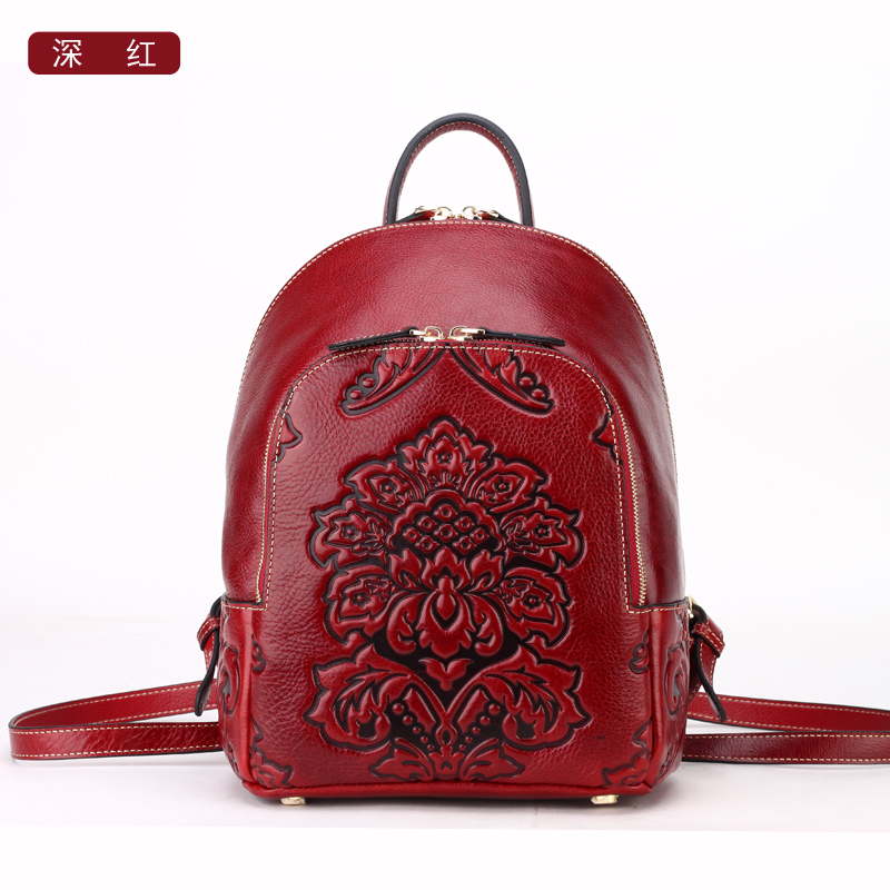 Chinese Style women genuine leather backpack name brand fashion pattern girl leather shoulder bag women bag free shipping women backpack fashion pvc faux leather turtle backpack leather bag women traveling antitheft backpack black white free shipping