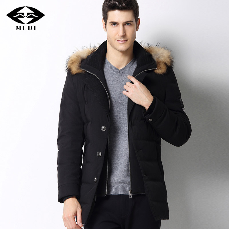 MUDI Mens Brand Duck Down Coats New Fashion High Quality Male Jacket Thick Warm Light Down Coats With Fur Hooded Parka Jackets winer womens down jackets with hooded zipper bright black thick maternity clothes brand design ladies coats high quality outwear