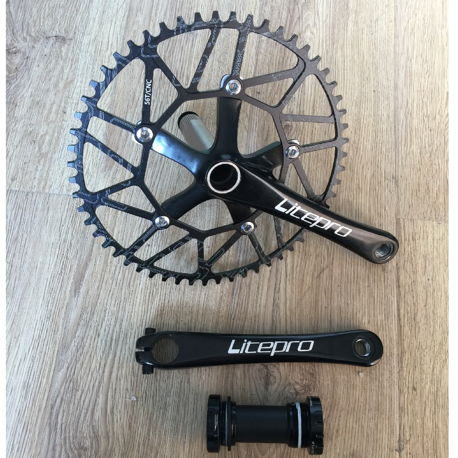 Litepro Road Bicycle Folding Bike Crank Chain Wheel Bottom Bracket Axis Suit 50T 52T 54T 56T 58T Single Chain wheel Accessories new litepro 53t 39t road bicycle crankset folding bike chain wheel crank axis suit with variable speed tooth cycling accessory