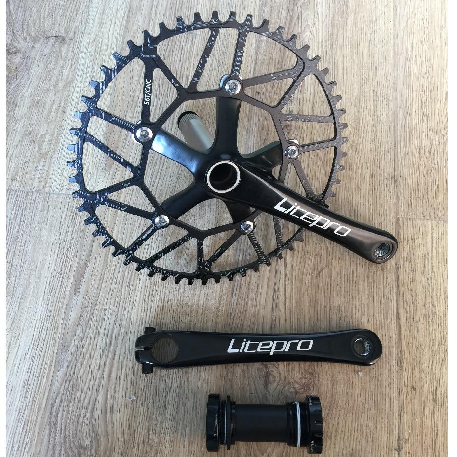 Litepro Road Bicycle Folding Bike Crank Chain Wheel Bottom Bracket Axis Suit 50T 52T 54T 56T 58T Single Chain wheel Accessories
