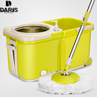 SDARISB Spinning Magic Mop Bucket Replacement 360 Rotating Microfiber Mop Head Stainless steel hand Floor Household Cleaning Set