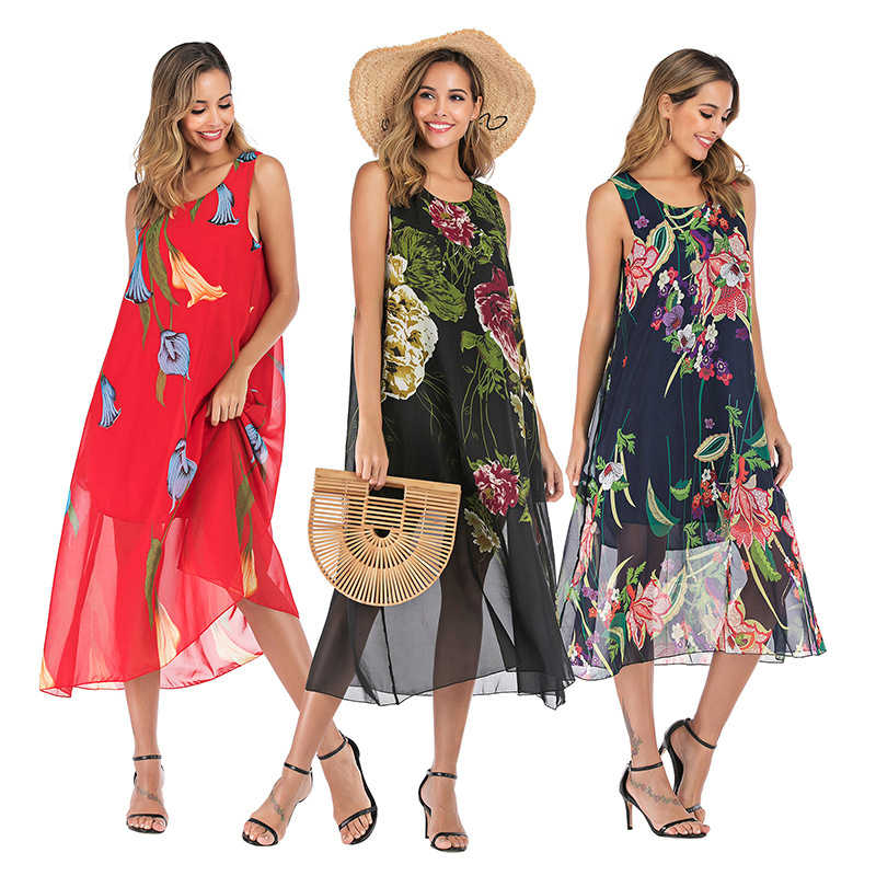 WHZHM Summer Floral Dress Women Big Hem Sleeveless Dot Round Neck Party Elegant Sexy Loose Flower Printed Beach Femme Dress
