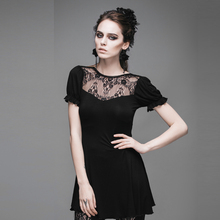 2016 New Arrival Women Gothic Punk Lace Embroidery Long Length T-shirt Slim Fit Backless Short Sleeve Cotton T Shirt  TT019