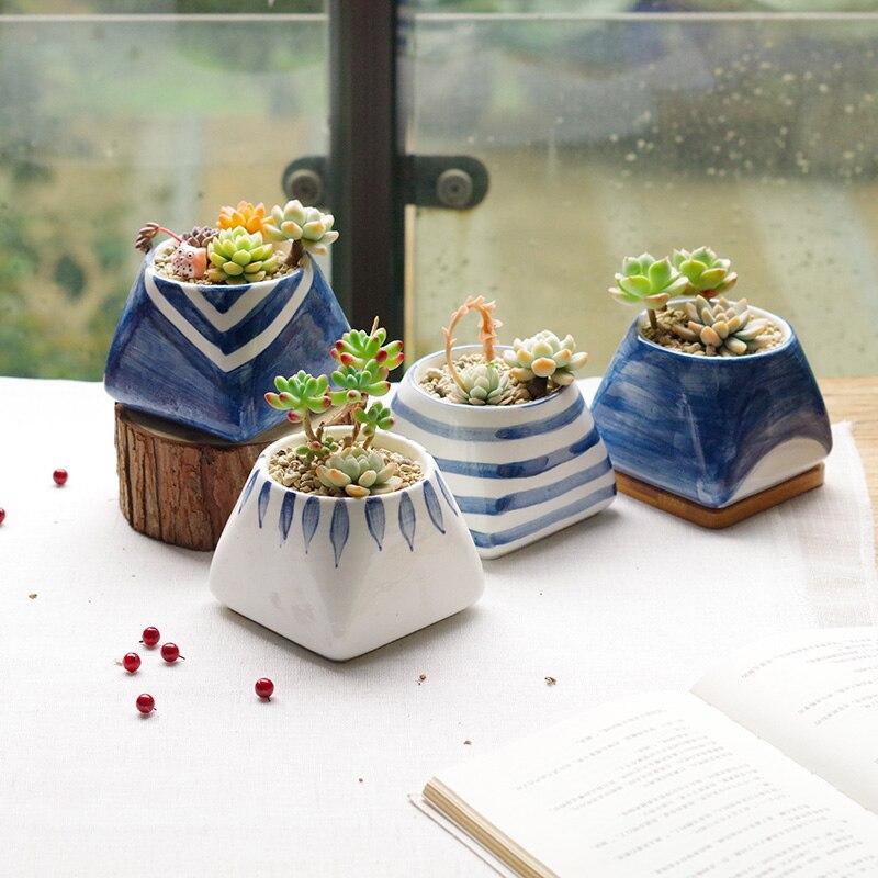 4pcs Set Modern Decorative Ceramic Succulent Plant Pot