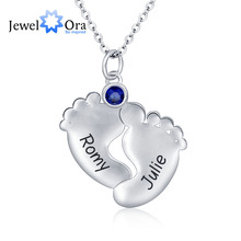 Personalised Pendants Necklaces Birthstone Cute Soles 925 Sterling Silver Stylish CZ Necklaces & Pendants (JewelOra NE101329)