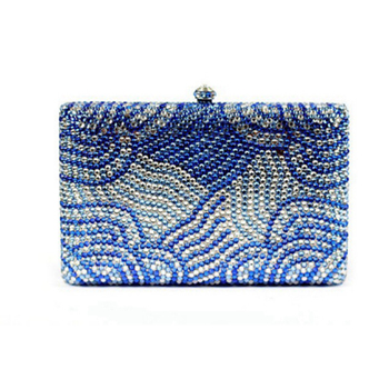Ladies Clutch Evening Bags Womens blue Crystal Handbag Wedding Diamond Clutches night Purse Rhinestones crossbody messenger bag