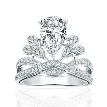 Genuine Solid 925 Sterling Silver Rings for Women Crown Cubic Zircon big Crystal Wedding Bridal Ring Fine Jewelry