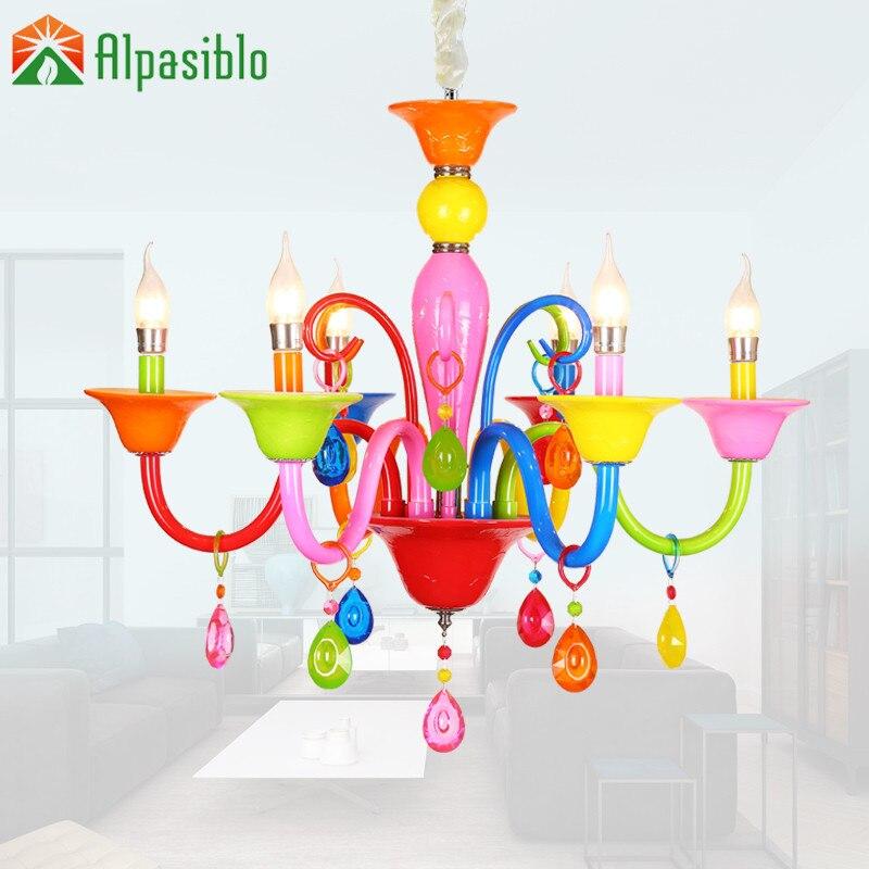 US $77.44 12% OFF|Dla niemowlątdzieci Raibow kolorowe 3 5 6 8 światła kryształowy żyrandol światła nowoczesne lampy wiszące oświetlenie domu wiszące