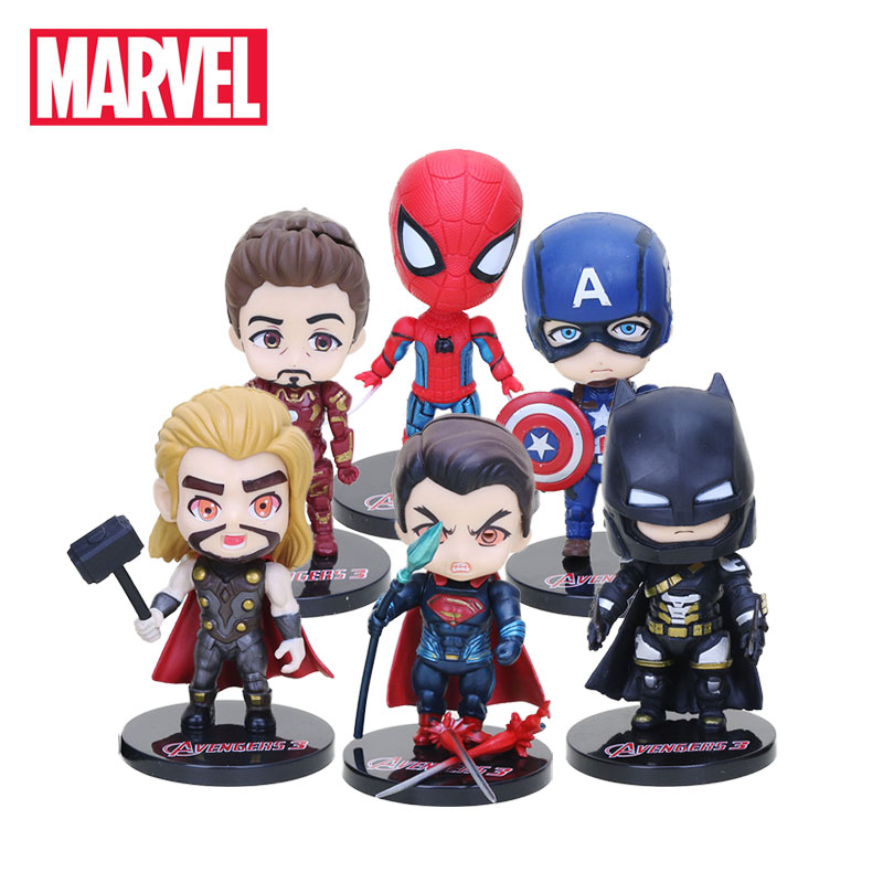 Pack of 6 10cm Marvel Toys The Avengers 3 Infinity War PVC Action Figures Set Super Hero Spiderman Captain America Hulk Figure(China)