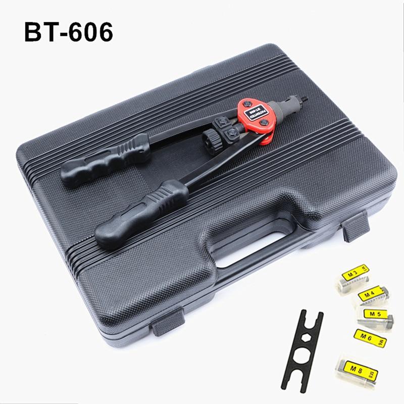 Free Shipping Hot Sales manual pull rivet nut gun riveting tools BT-606 with nut dies M3,M4,M5,M6,M8 professional plastic box