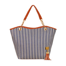 New Tassel Pendant Handbags Striped Canvas Ladies European And American Fashion Tide Female Shoulder Bag