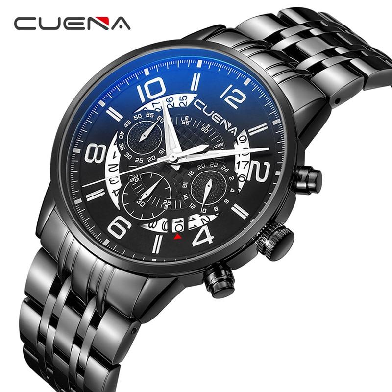 все цены на CUENA Watches Top Brand Luxury Full Steel Sport Watch Men Watch Waterproof Military Men's Watch Clock saat Relogio Masculino онлайн