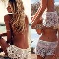 Cintura Alta das Mulheres moda Praia Board Shorts Verão Casual Hot Floral Lace Sexy Shorts