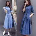 2017 Women Denim Jeans Long-sleeve Dress Slim Waist Single Breasted Basic Full Long Expansion Dress Belt Clothes Vestidos