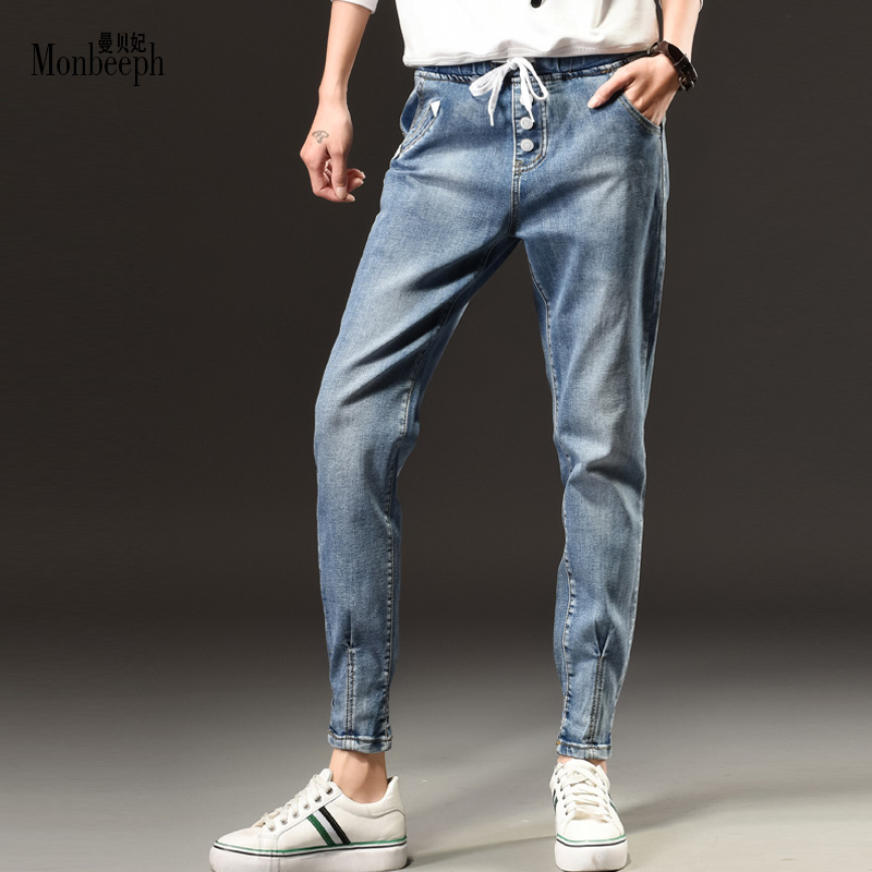 2017 new denim pants plus Size S-5XL elastic waist Drawstring trousers Casual Strap student Women jeans Blue Pencil Pants plus size pants the spring new jeans pants suspenders ladies denim trousers elastic braces bib overalls for women dungarees