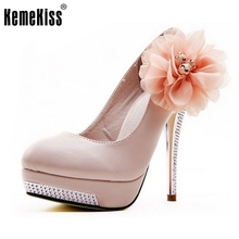 Taille 35-43 femmes à talons hauts chaussures de mariage de mariée plate-forme de fleur à talons hauts dame pompes de mode diamant talons chaussures EUR D5614