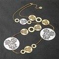 Mulheres boho vintage Longo declaração Colares filigrana flor redonda colar camadas Longo colar de prata Cadeia de Jóias Vintage