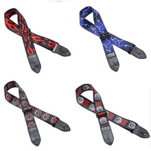 Lots of 12pcs Guitar Bass Strap Picture Printed Polyester w/ Leather Head 5cm Wide 4 Colors
