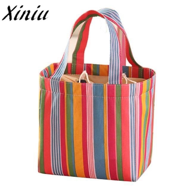 Lunch Bag Colorful Stripe Inner Aluminum Foil Lunch Storage Bag for Women Men fashion Picnic Bag Bolsos De Picnic *7622 ...