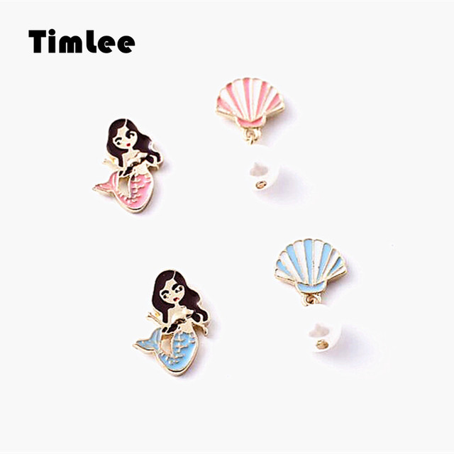 Timlee E225 Cute Mermaid Earring Shell Imitation Pearl Studs Earrings,Personality Fashion Jewelry.