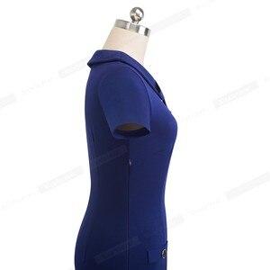 Image 4 - נחמד לנצח בציר אלגנטי מוצק צבע עם כפתור נשי עבודת vestidos עסקים Bodycon משרד נשים נדן שמלת B511