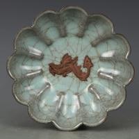 Antique династии Сун фарфоровая тарелка, розовый цвет морской волны lotus плиты, ручная роспись ремесла, предметы интерьера, коллекция и украшени