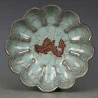 Antique Song Dynasty porcelain plate,Pink celadon lotus plate,hand painted crafts,home Decoration, collection & adornment