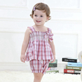 Summer Girls Clothing Set,Beautiful Cotton Plaid Kids Clothes Vest + Short Pants,Casual Children's Clothing (6 Months-3 Yrs)