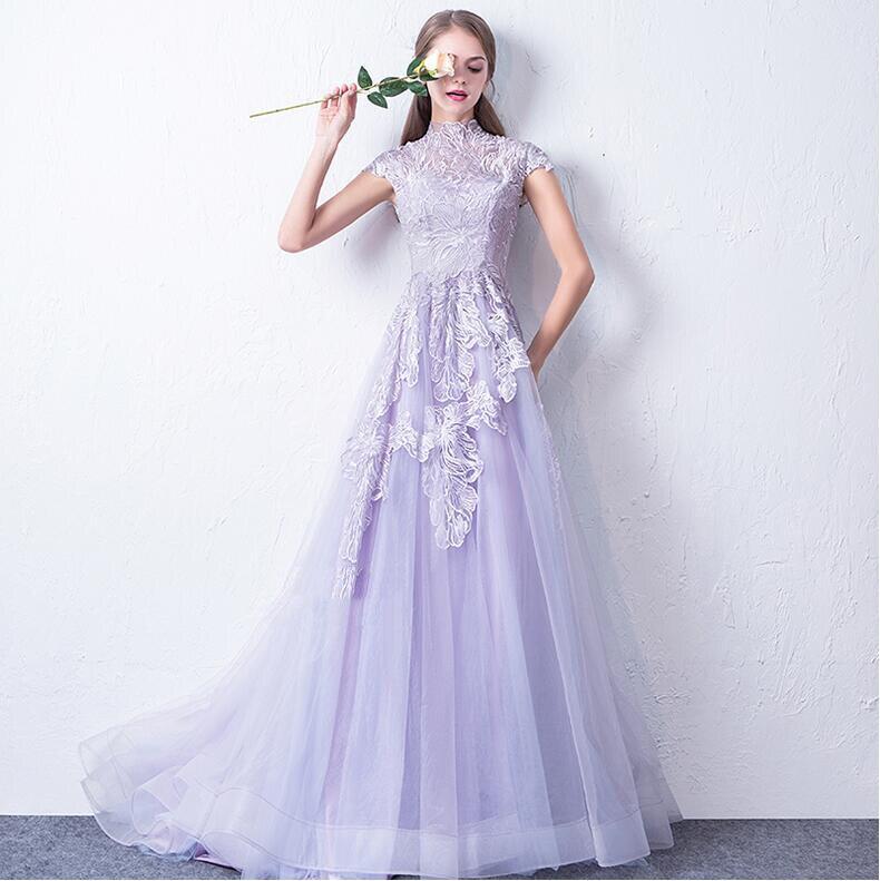Lilla robes De soirée 2019 nouvel an Robe De soirée douce pour jeune femme dentelle fleur illusion Robe De soirée formelle Robe De soirée