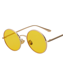 Retro Vintage Sunglasses Women Shades Round Glasses Yellow Lense Metal Frame Coating Eyewear gafas de sol mujer