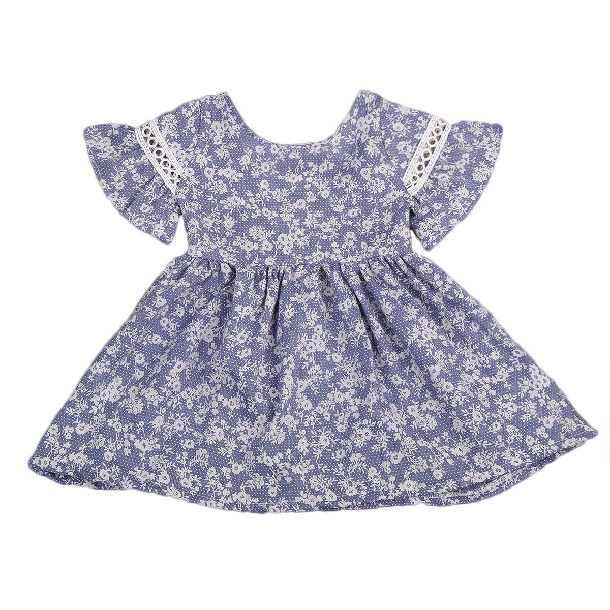 Helen115 Lovely Kids Baby Girls Summer Blue Floral Printed Short Sleeve O neck Dresses 2-7Years комплект аксессуаров для волос lovely floral