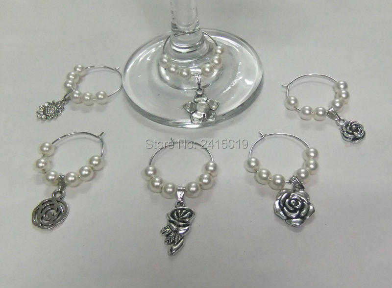 Freeship 24x white mixed flower patterns party wine glass charms markers Wedding Table decoration decorating vinos etiqueta