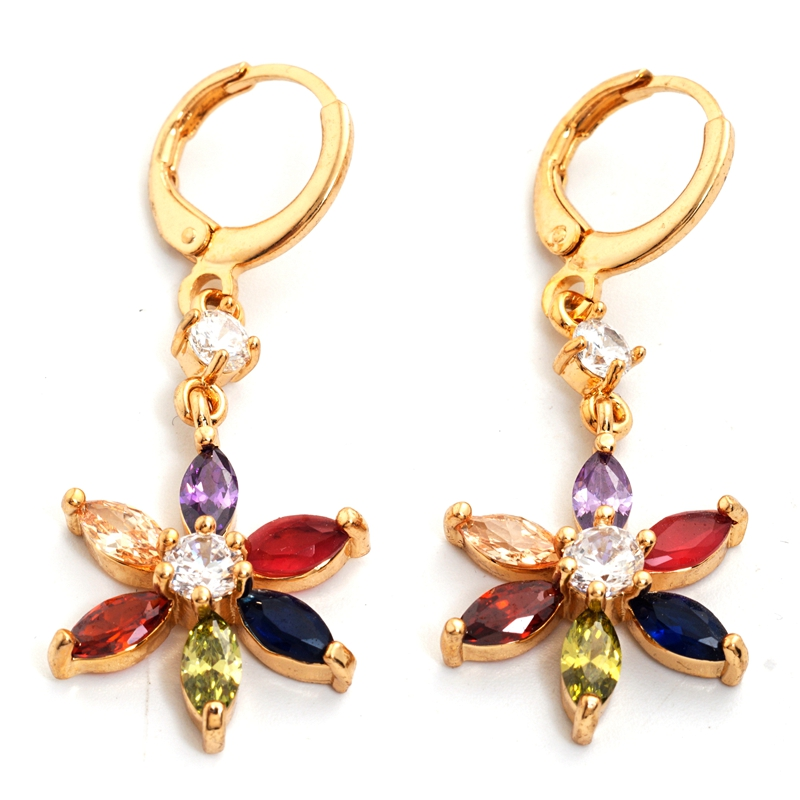 Yunkingdom Fashion Flower Drop Earrings for Women Gold Color Colorful Zirconia Crystals Earring K0932